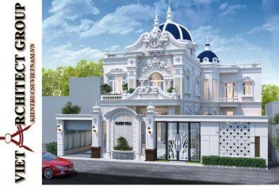 thiet ke biet thu tan co dien dep 2 tang o can tho 3 400x267 - Mẫu biệt thự 3 tầng tân cổ điển chữ L đẹp