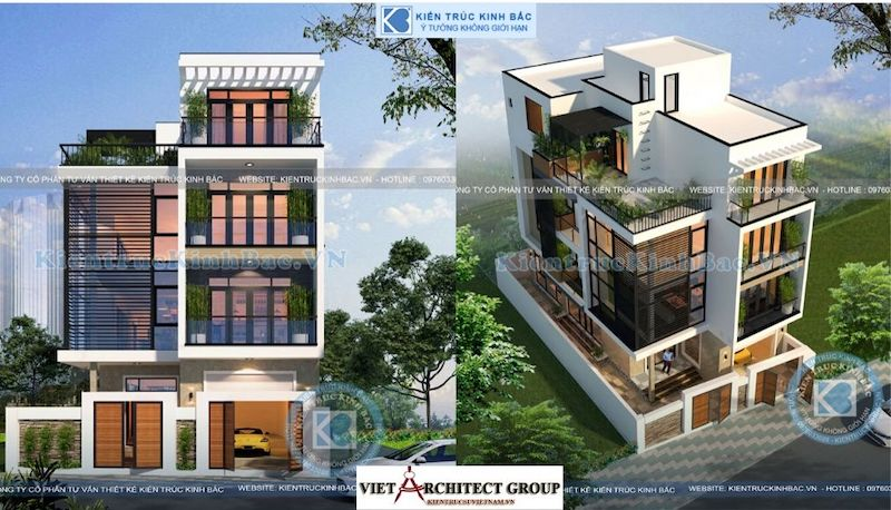thiet ke nha dep 4 tang hien dai 7.5m.jpeg - Tư vấn thiết kế nhà đẹp ở tại Bắc Giang