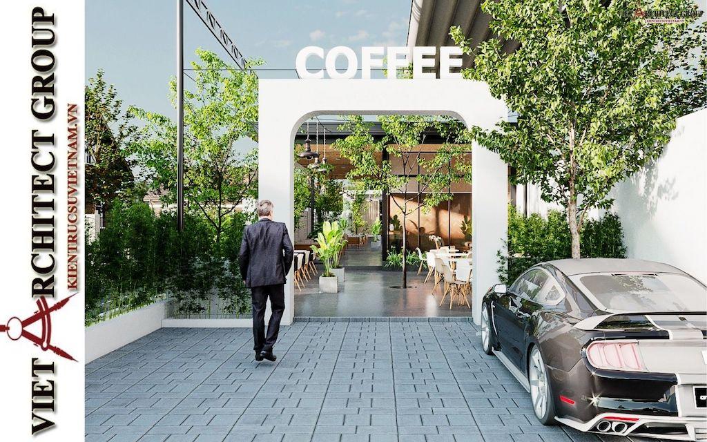 thiet ke quan cafe phong cach hien dai 2021 view1 - Thiết kế quán cafe sân vườn hiện đại