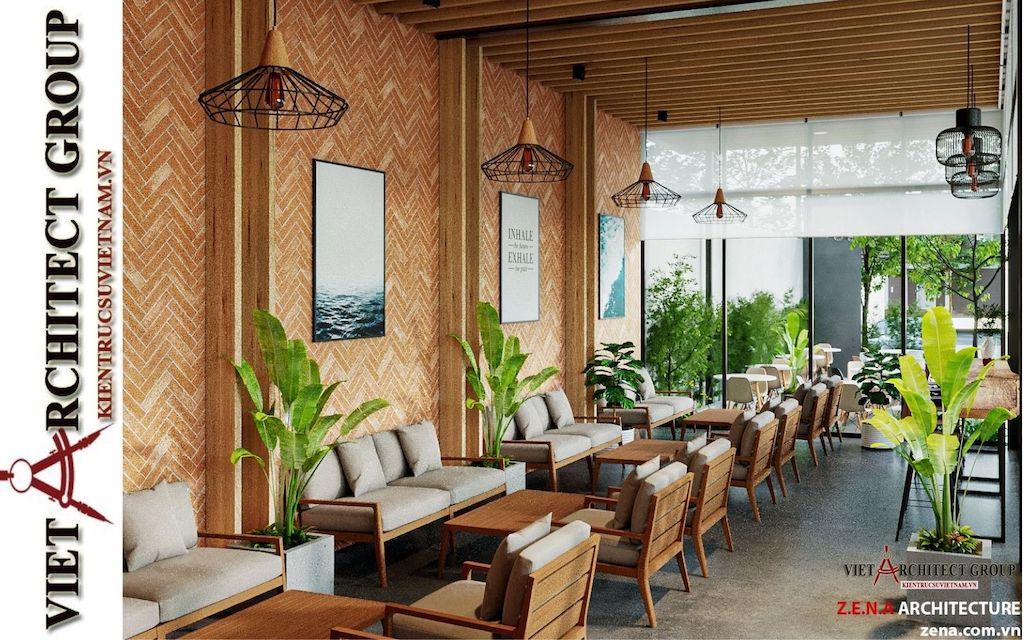 thiet ke quan cafe phong cach hien dai 2021 view16 - Thiết kế quán cafe sân vườn hiện đại