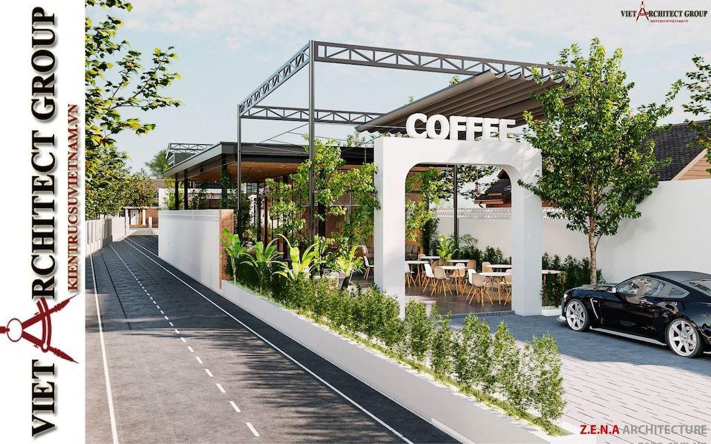 thiet ke quan cafe phong cach hien dai 2021 view2 - Thiết kế quán cafe sân vườn hiện đại