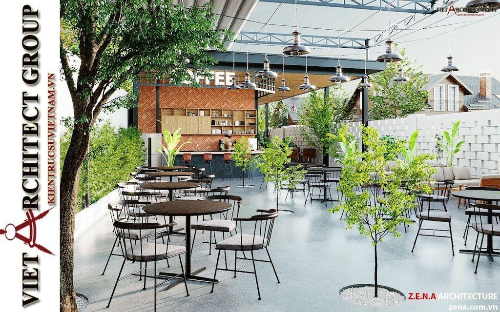 thiet ke quan cafe phong cach hien dai 2021 view3 - Thiết kế quán cafe sân vườn hiện đại