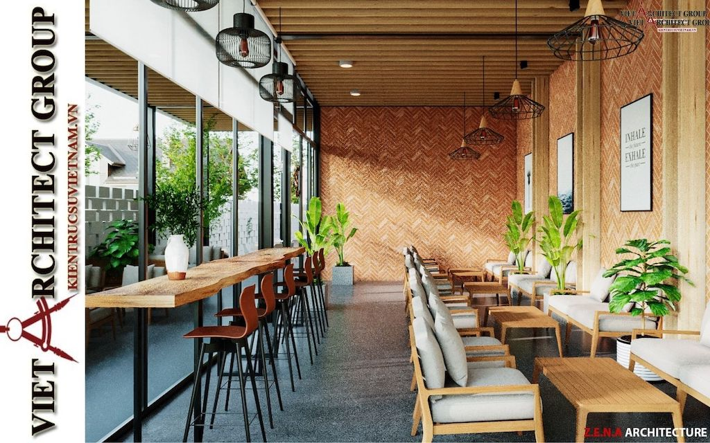 thiet ke quan cafe phong cach hien dai 2021 view4 - Thiết kế quán cafe sân vườn hiện đại