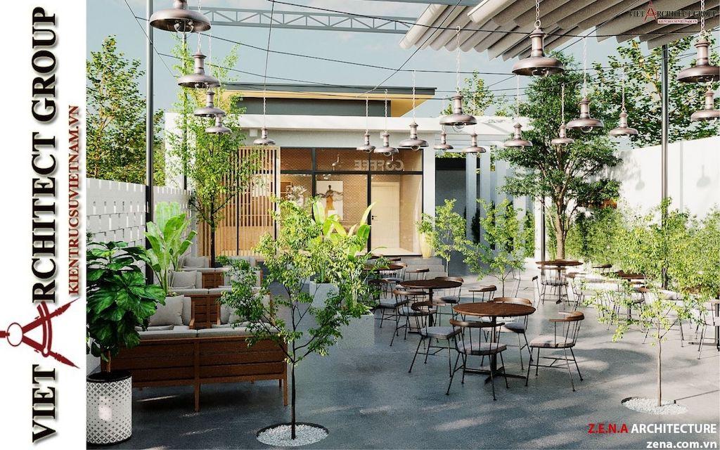 thiet ke quan cafe phong cach hien dai 2021 view5 - Thiết kế quán cafe sân vườn hiện đại