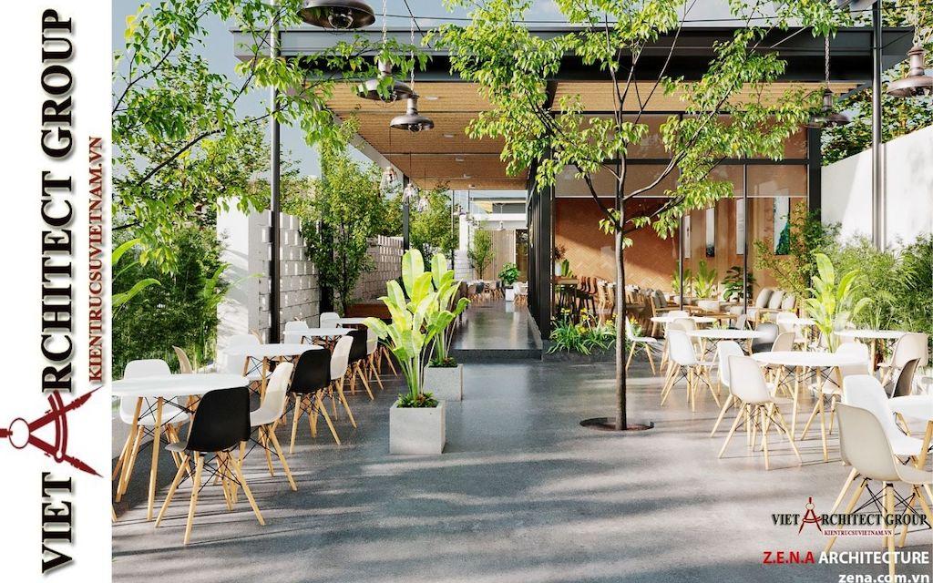 thiet ke quan cafe phong cach hien dai 2021 view7 - Thiết kế quán cafe sân vườn hiện đại