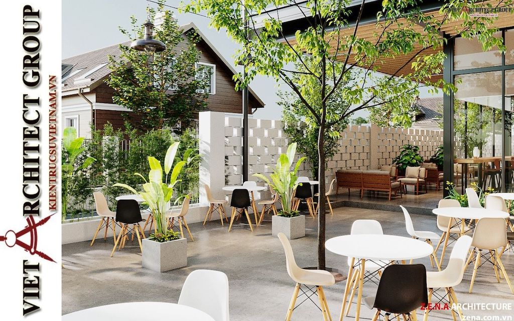 thiet ke quan cafe phong cach hien dai 2021 view8 - Thiết kế quán cafe sân vườn hiện đại
