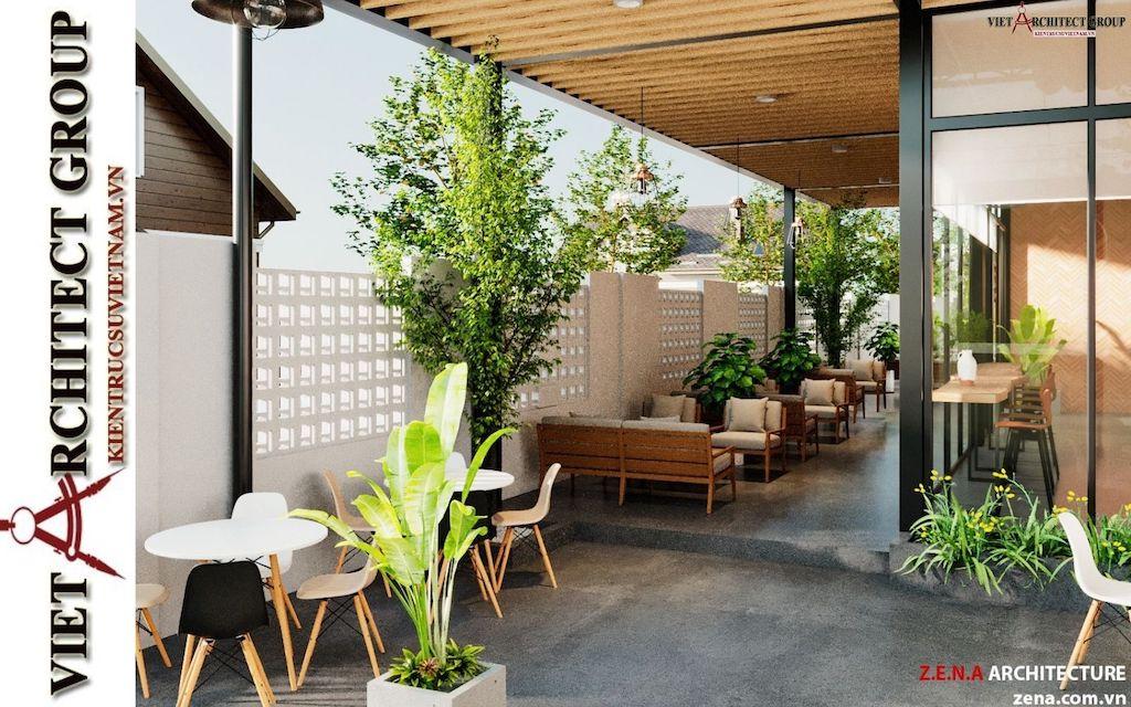 thiet ke quan cafe phong cach hien dai 2021 view9 - Thiết kế quán cafe sân vườn hiện đại