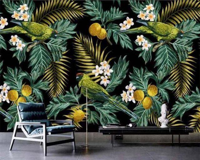 tranh tuong 10.jpeg e1620477139490 - Vẽ tranh tường hoa lá đẹp ấn tượng