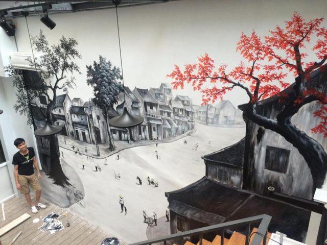 ve tranh tuong quan cafe ms00 2021.jpeg e1619109990725 - Vẽ tranh tường quán Cafe 2d, 3d cực đẹp theo yêu cầu đảm bảo tiến độ