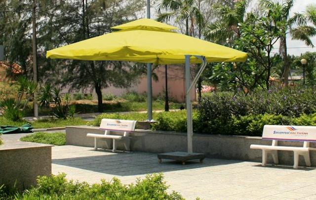 du che san vuon 6 - Dù che nắng lệch tâm ở sân vườn cafe nhà hàng - resort