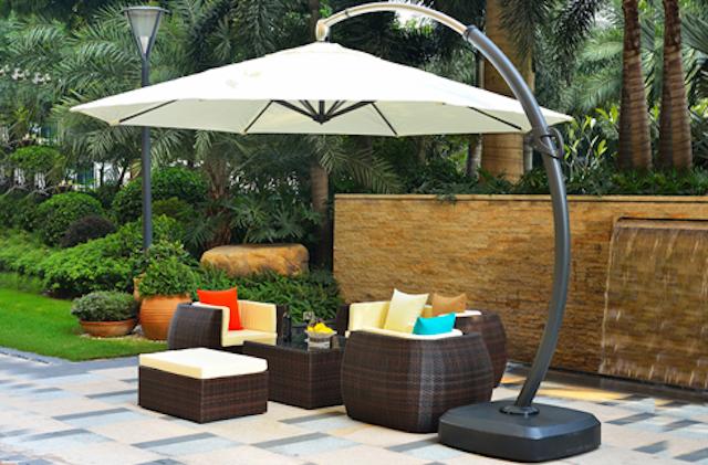 du che san vuon - Dù che nắng lệch tâm ở sân vườn cafe nhà hàng - resort