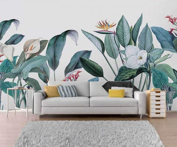 tranh tuong hoa la 720x600 - Vẽ tranh tường hoa lá đẹp ấn tượng