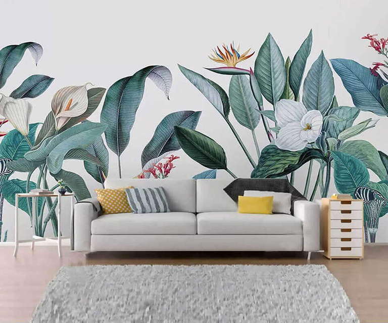 tranh tuong hoa la - Vẽ tranh tường phòng khách đẹp
