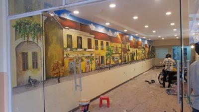 tranh tuong pho co 1 400x225 - Vẽ tranh tường phố cổ quán cafe, nhà hàng, khách sạn