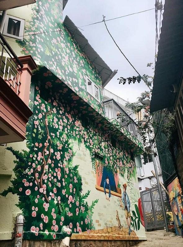 ve tranh tuong hoa hong 3 - Hoạ sĩ vẽ tranh tường hoa hồng đẹp ấn tượng