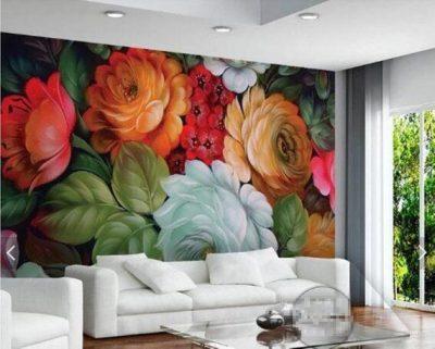ve tranh tuong hoa hong 400x321 - Hoạ sĩ vẽ tranh tường hoa hồng đẹp ấn tượng