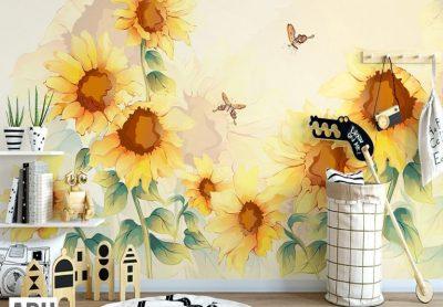 ve tranh tuong hoa huong duong 400x278 - Vẽ tranh tường hoa đẹp ấn tượng
