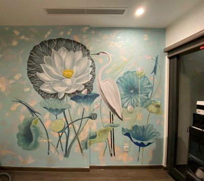 Ve tranh tuong phong tho 400x356 - Hoạ sĩ vẽ tranh tường phòng thờ đẹp phù hợp phong thuỷ
