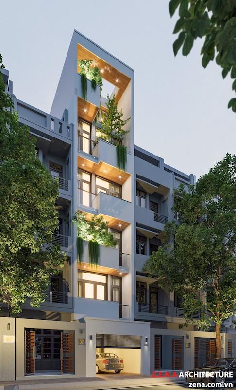 nha pho hien dai 5 tang tum thang may - Thiết kế nhà 5 tầng đẹp