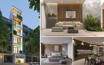 thiet ke nha pho 6 tang dep 400x250 - Dự án thiết kế nhà phố có thang máy với 6 tầng kiến trúc hiện đại