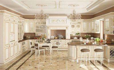 tu bep tan co dien 400x246 - Tủ bếp tân cổ điển - xu hướng mới cho không gian bếp