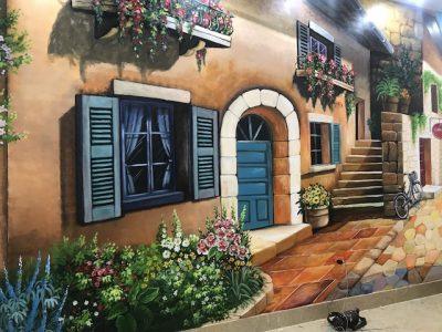 ve cua so tren tuong dep 400x300 - Hoạ sĩ vẽ cửa sổ trên tường đẹp ấn tượng