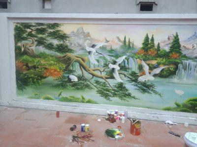 ve tranh tuong ngoai troi 400x300 - Vẽ tranh tường ngoài trời 2D, 3D đẹp chuyên nghiệp ấn tượng
