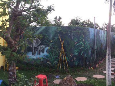 ve tranh tuong san vuon 6 400x300 - Hoạ sĩ vẽ tranh tường sân vườn đẹp ấn tượng