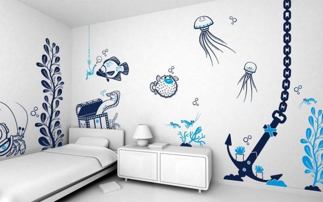 ve tuong cute 2 e1622800002311 - Vẽ tranh tường phòng ngủ đẹp ấn tượng