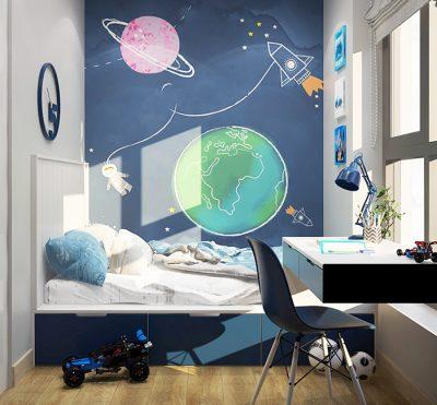 ve tuong cute 400x371 - Hoạ sĩ vẽ tường cute đáng yêu cho bé