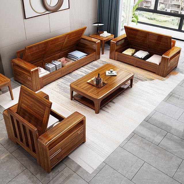 sofa go 3a - Bộ bàn ghế sofa gỗ đẹp hiện đại sang trọng đẳng cấp