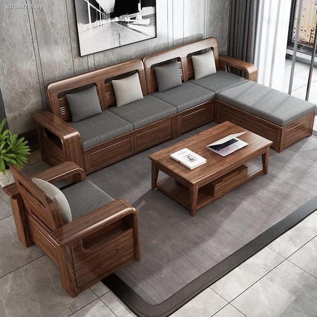 sofa go luxury 1 - Bộ bàn ghế sofa gỗ đẹp hiện đại sang trọng đẳng cấp