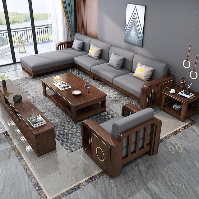 sofa go luxury 3 - Bộ bàn ghế sofa gỗ đẹp hiện đại sang trọng đẳng cấp