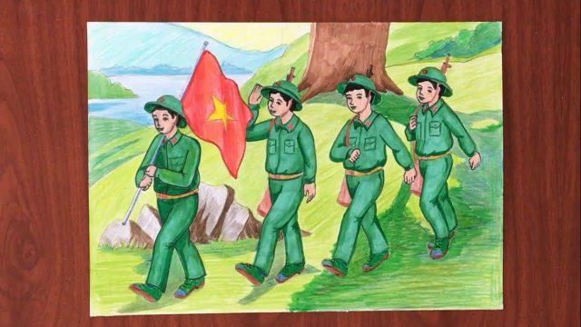 tranh chu bo doi hanh quan trong rung 1 e1630457619472 - Hướng dẫn cách vẽ chú bộ đội đẹp chi tiết từ A - Z và nhanh nhất