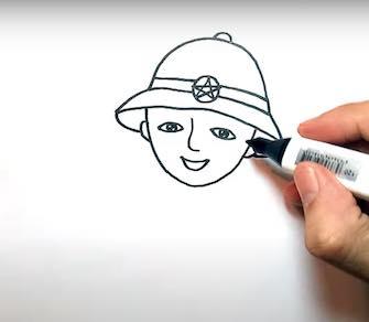 ve chu bo doi 10 - Hướng dẫn cách vẽ chú bộ đội đẹp chi tiết từ A - Z và nhanh nhất