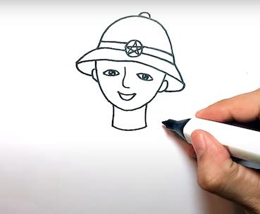 ve chu bo doi 11 - Hướng dẫn cách vẽ chú bộ đội đẹp chi tiết từ A - Z và nhanh nhất