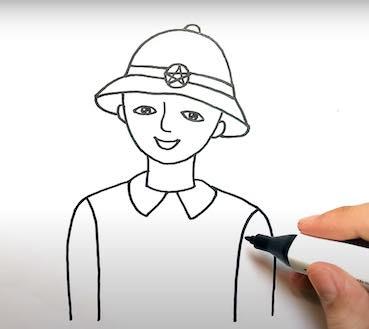 ve chu bo doi 13 - Hướng dẫn cách vẽ chú bộ đội đẹp chi tiết từ A - Z và nhanh nhất