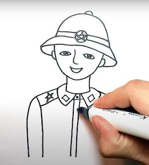 ve chu bo doi 15 - Hướng dẫn cách vẽ chú bộ đội đẹp chi tiết từ A - Z và nhanh nhất