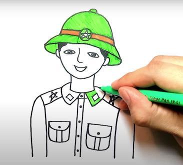 ve chu bo doi 20 - Hướng dẫn cách vẽ chú bộ đội đẹp chi tiết từ A - Z và nhanh nhất