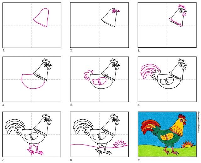 ve con ga copy - Hướng dẫn cách vẽ con gà đơn giản với 8 bước cơ bản