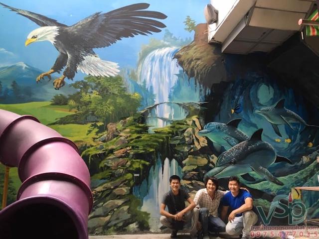ve tranh tuong quan cafe n - Vẽ tranh tường quán Cafe 2d, 3d cực đẹp theo yêu cầu đảm bảo tiến độ